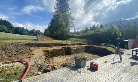 Terrassement pour la construction d'une piscine de 8.75m x 4m àMonestier-de-Clermont dans le Trièves
